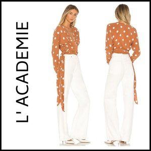 NWT L'ACADEMIE The Lydie Top in Rust & Ivory Dot